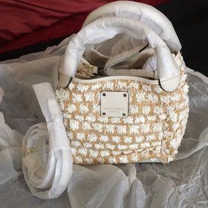 Henri Bendel Raffia Pom Pom Bucket Crossbody Bag